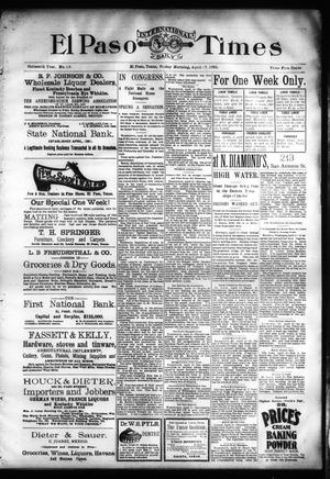 Primary view of object titled 'El Paso International Daily Times (El Paso, Tex.), Vol. SIXTEENTH YEAR, No. 93, Ed. 1 Friday, April 17, 1896'.