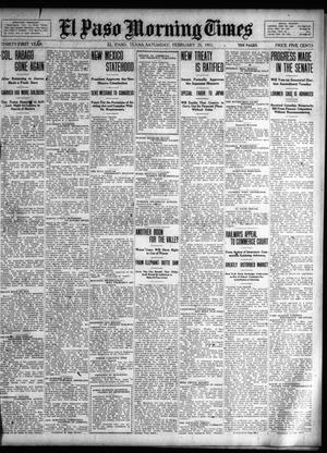 Primary view of object titled 'El Paso Morning Times (El Paso, Tex.), Vol. 31, Ed. 1 Saturday, February 25, 1911'.