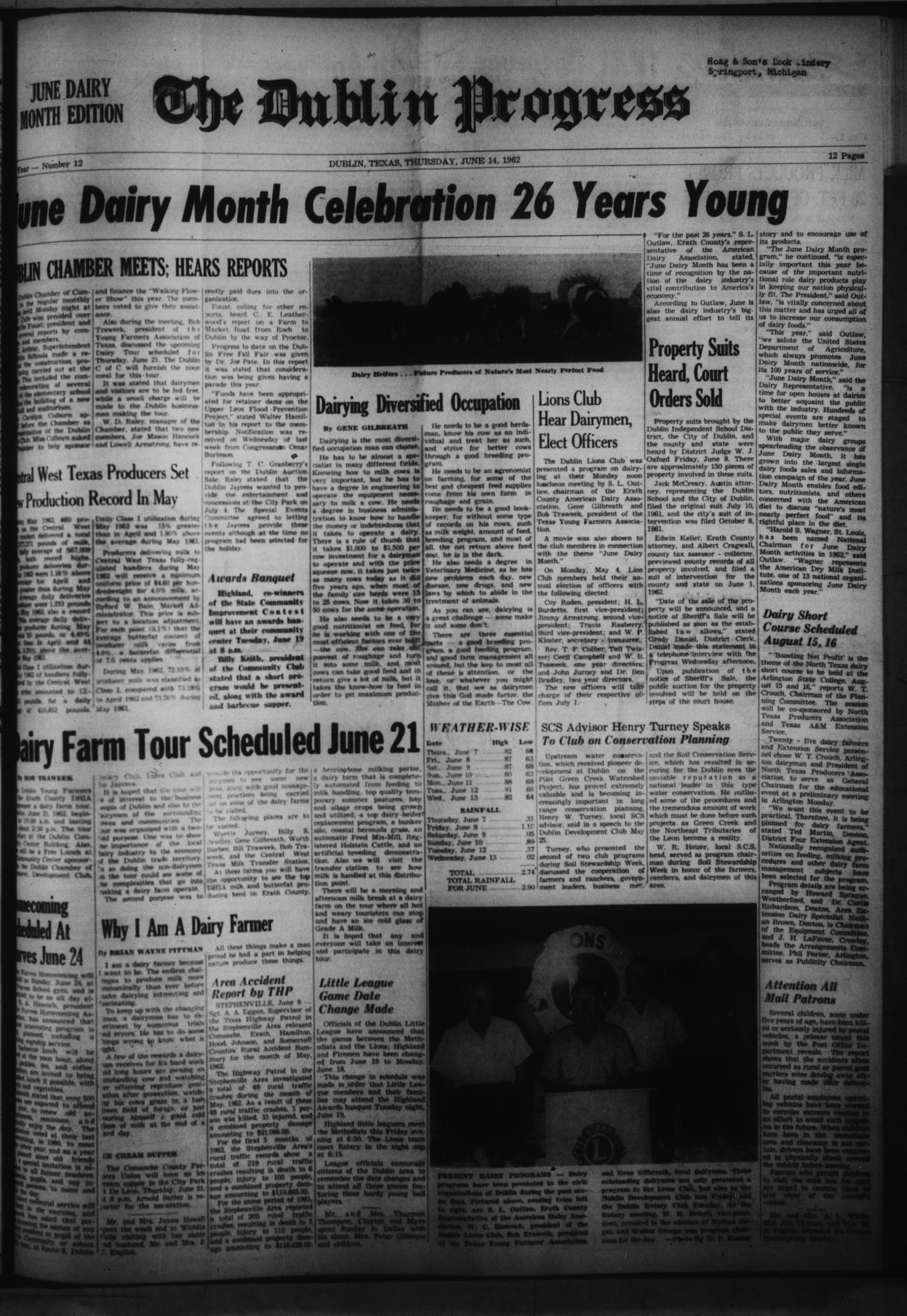 The Dublin Progress (Dublin, Tex.), No. 12, Ed. 1 Thursday, June 14, 1962                                                                                                      [Sequence #]: 1 of 12