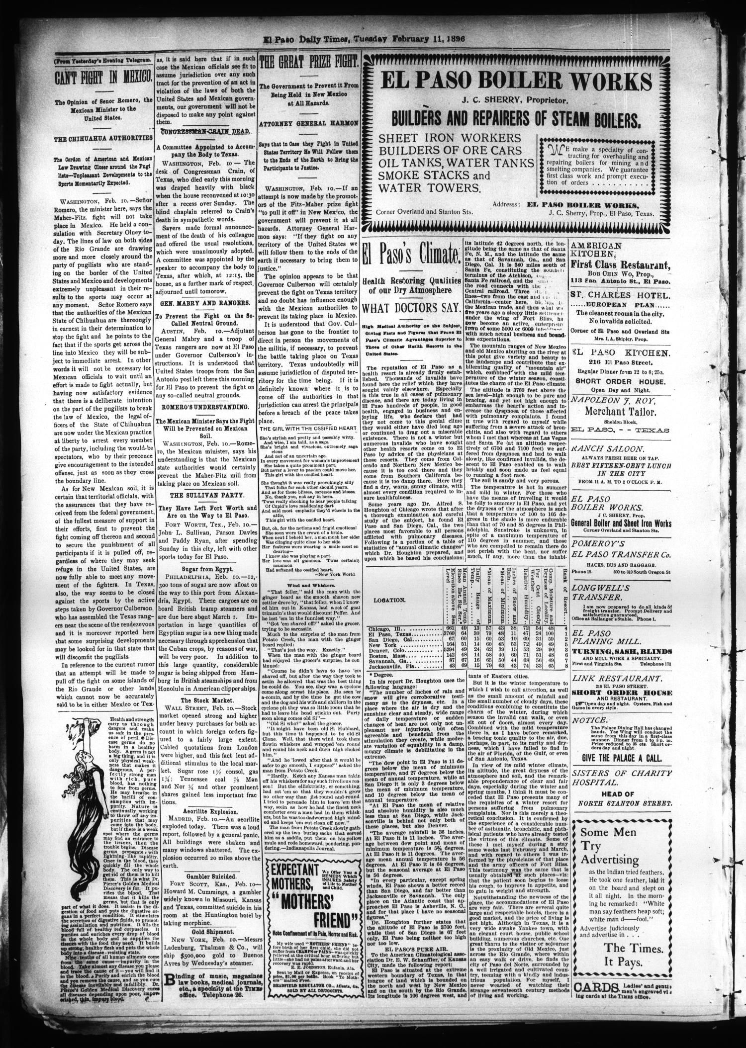 El Paso International Daily Times (El Paso, Tex.), Vol. SIXTEENTH YEAR, No. 36, Ed. 1 Tuesday, February 11, 1896                                                                                                      [Sequence #]: 4 of 4