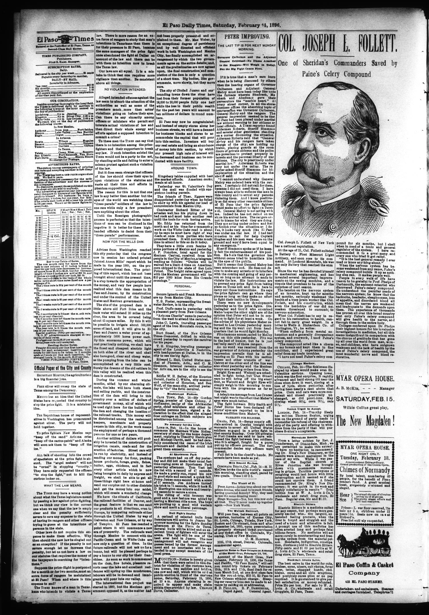 El Paso International Daily Times (El Paso, Tex.), Vol. SIXTEENTH YEAR, No. 40, Ed. 1 Saturday, February 15, 1896                                                                                                      [Sequence #]: 2 of 4