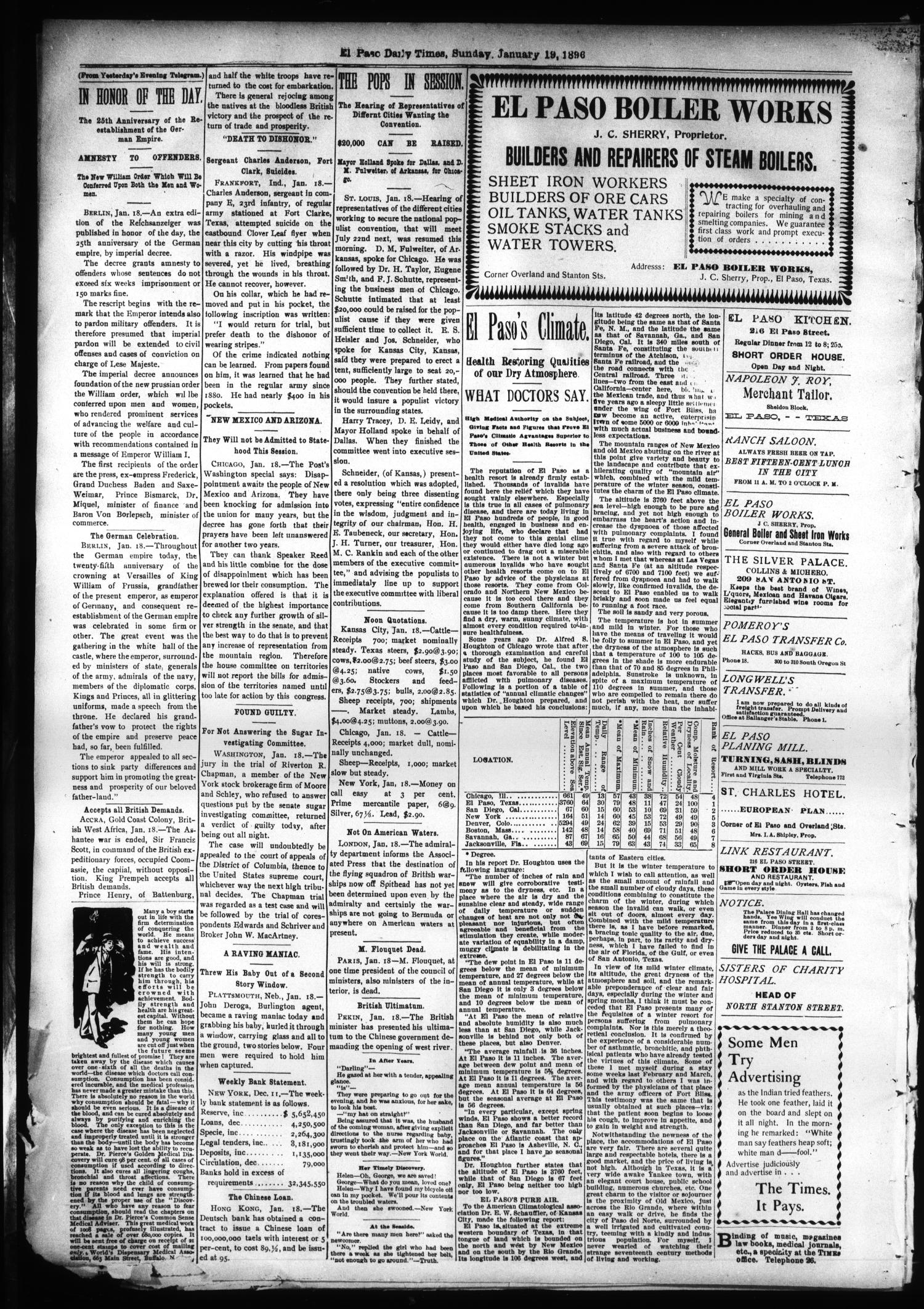 El Paso International Daily Times (El Paso, Tex.), Vol. SIXTEENTH YEAR, No. 17, Ed. 1 Sunday, January 19, 1896                                                                                                      [Sequence #]: 4 of 4