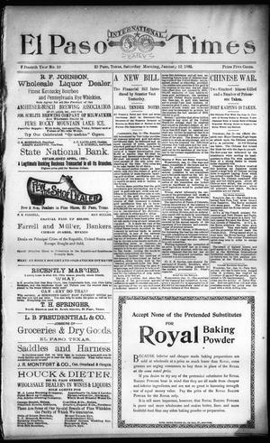 Primary view of El Paso International Daily Times (El Paso, Tex.), Vol. 15, No. 10, Ed. 1 Saturday, January 12, 1895