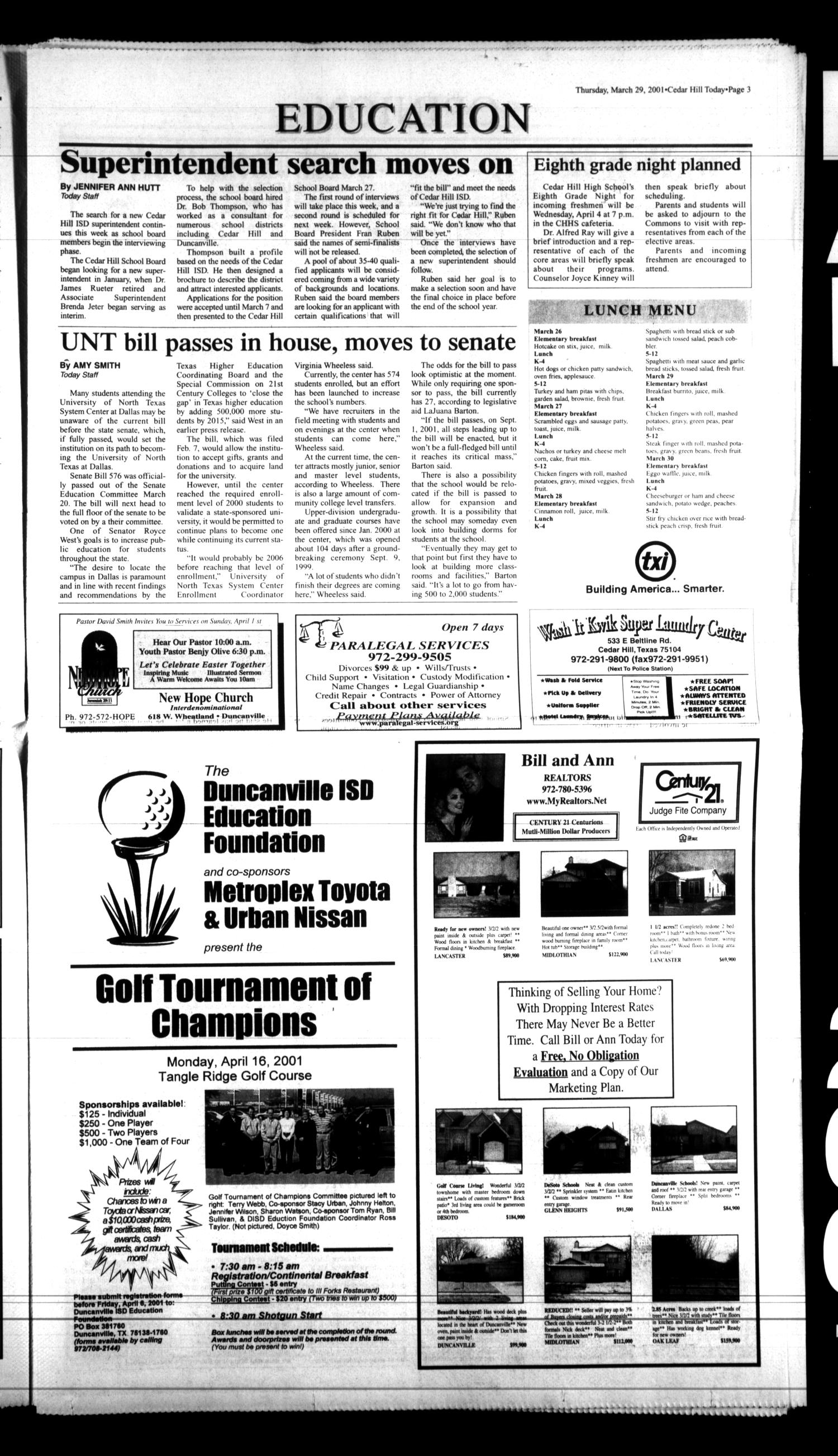 Today Cedar Hill Duncanville Tex Vol 36 No 1 Ed Thursday March 29 2001 Page 3 Of 42 The Portal To Texas History