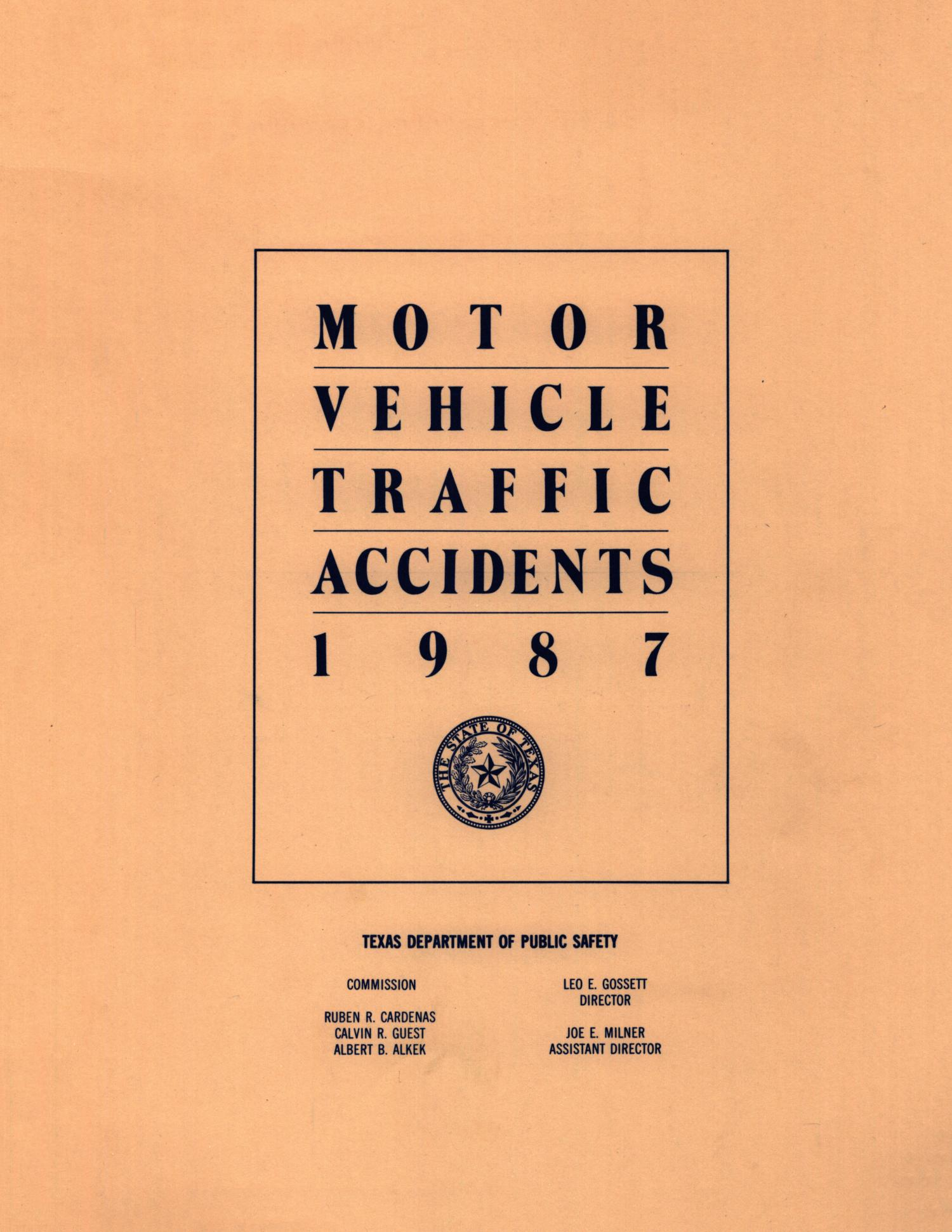 Motor vehicle traffic accidents 1987 the portal to for Texas motor vehicle record