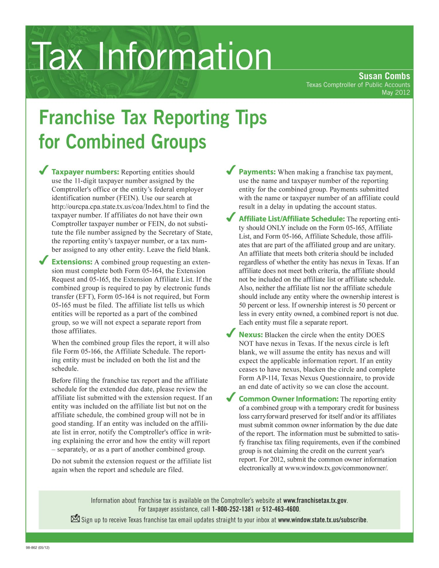 Tax Information Franchise Tax Reporting Tips For Combined Groups