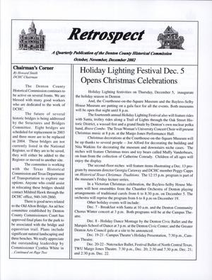 Primary view of object titled 'Retrospect, October, November, December, 2002'.