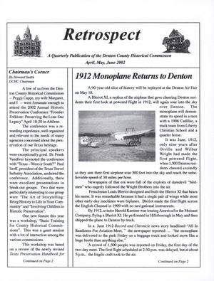 Primary view of object titled 'Retrospect, April, May, June, 2002'.