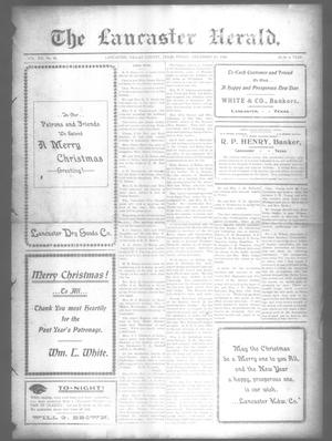 Primary view of object titled 'The Lancaster Herald. (Lancaster, Tex.), Vol. 21, No. 48, Ed. 1 Friday, December 25, 1908'.