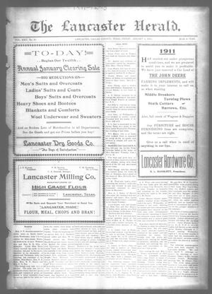 Primary view of object titled 'The Lancaster Herald. (Lancaster, Tex.), Vol. 24, No. 49, Ed. 1 Friday, January 6, 1911'.