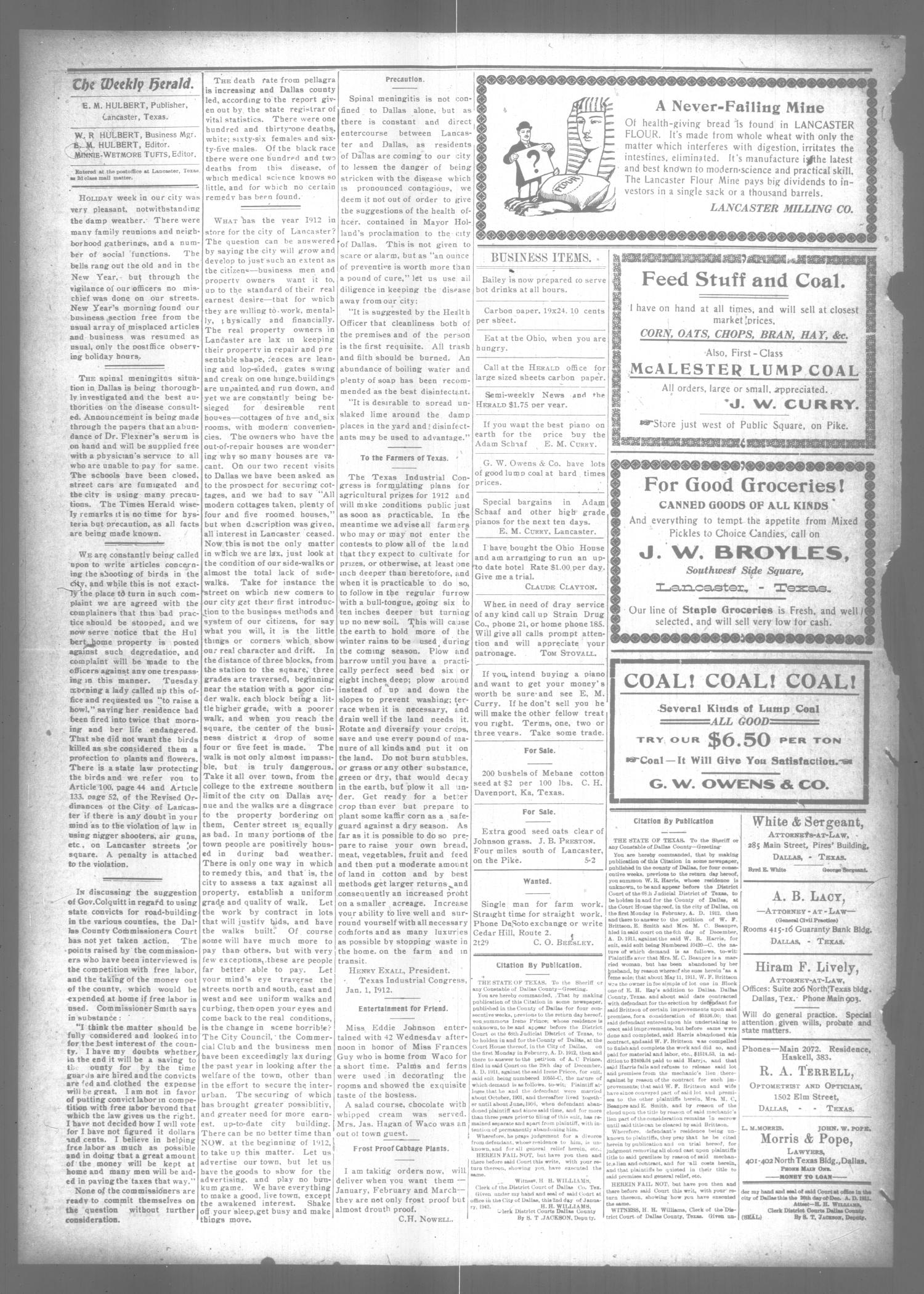 The Lancaster Herald. (Lancaster, Tex.), Vol. 25, No. 49, Ed. 1 Friday, January 5, 1912                                                                                                      [Sequence #]: 4 of 8