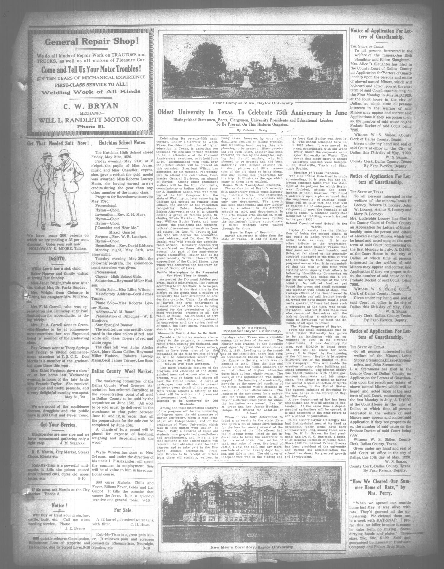 The Lancaster Herald. (Lancaster, Tex.), Vol. 34, No. 20, Ed. 1 Friday, June 4, 1920                                                                                                      [Sequence #]: 3 of 8