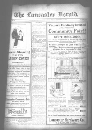 Primary view of object titled 'The Lancaster Herald. (Lancaster, Tex.), Vol. 37, No. 35, Ed. 1 Friday, September 21, 1923'.