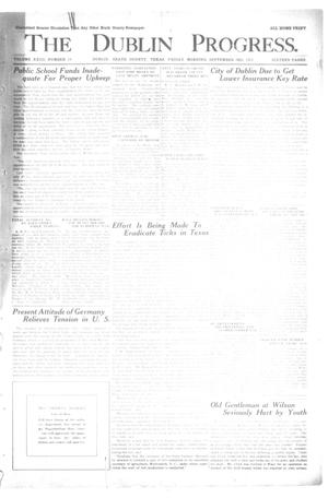 Primary view of object titled 'The Dublin Progress. (Dublin, Tex.), Vol. 23, No. 19, Ed. 1 Friday, September 3, 1915'.