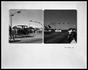 Primary view of object titled 'Parade, Buggy; Parade, Band and Flags Color Guard'.