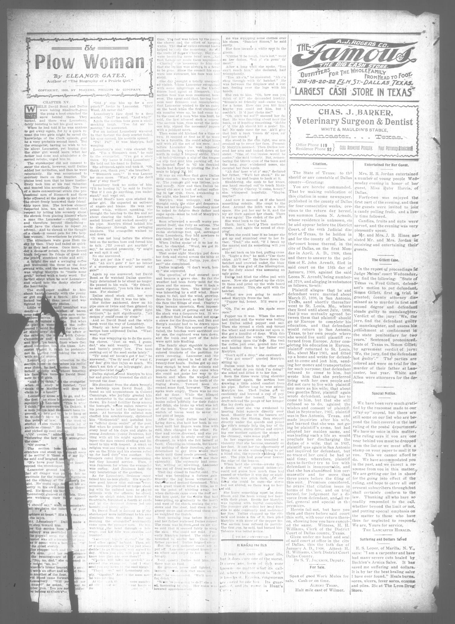 The Lancaster Herald. (Lancaster, Tex.), Vol. 21, No. 2, Ed. 1 Friday, February 14, 1908                                                                                                      [Sequence #]: 4 of 6
