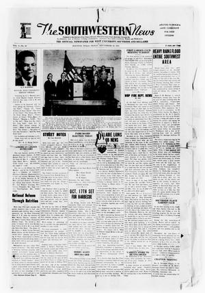 Primary view of object titled 'The Southwestern News (Houston, Tex.), Vol. 4, No. 39, Ed. 1 Friday, September 19, 1941'.