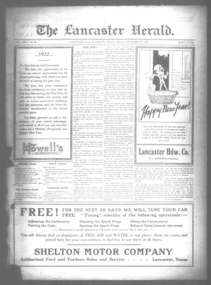 Primary view of object titled 'The Lancaster Herald. (Lancaster, Tex.), Vol. 35, No. 50, Ed. 1 Friday, December 30, 1921'.