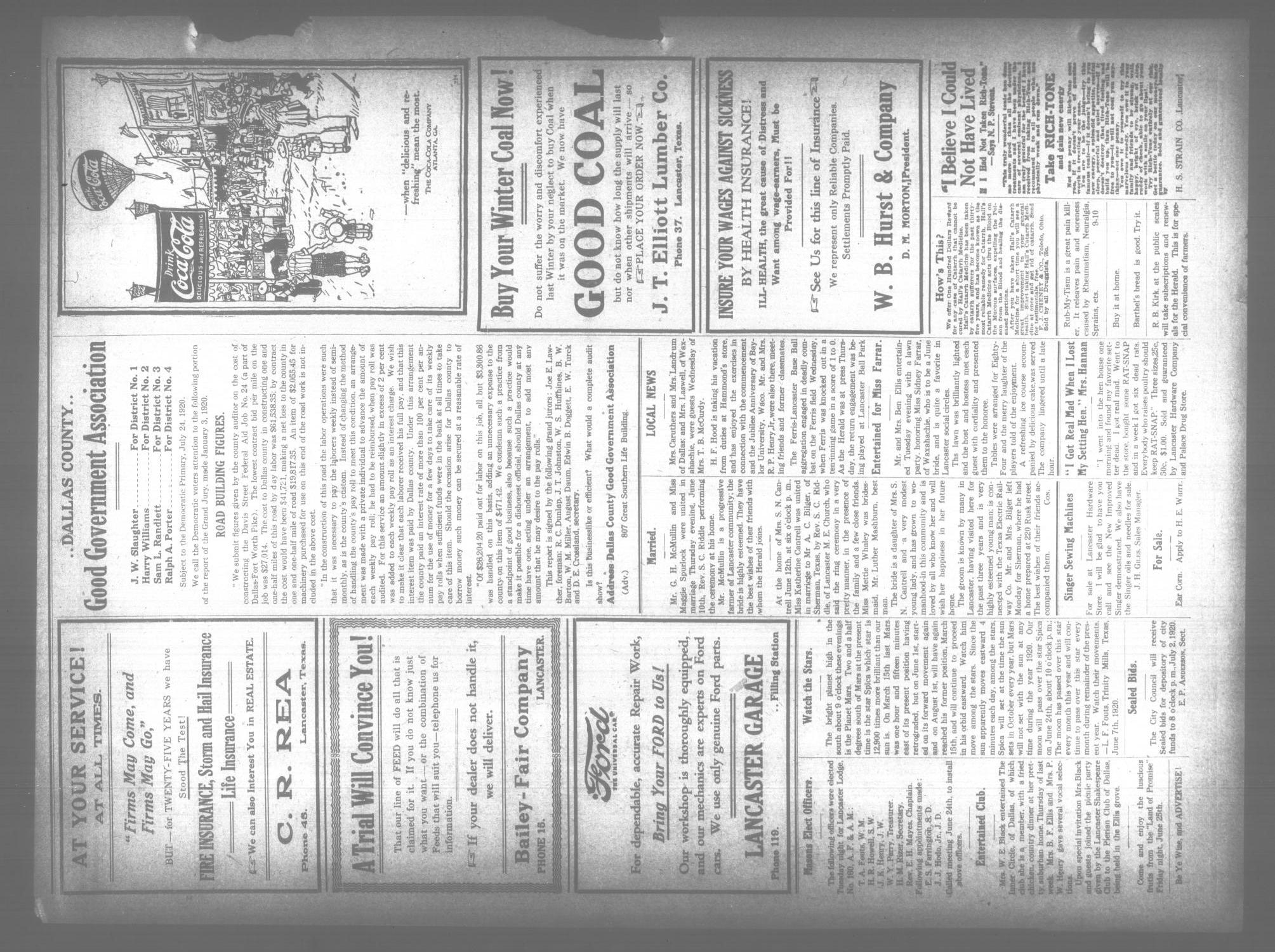 The Lancaster Herald. (Lancaster, Tex.), Vol. 34, No. 22, Ed. 1 Friday, June 18, 1920                                                                                                      [Sequence #]: 2 of 8