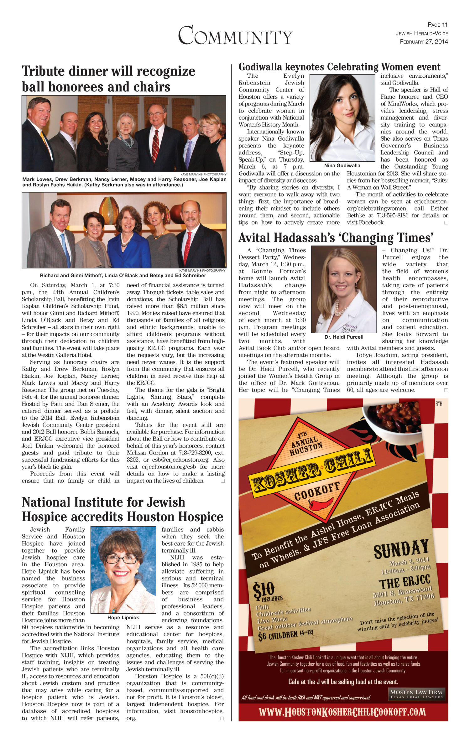 Jewish Herald-Voice (Houston, Tex.), Vol. 106, No. 54, Ed. 1 Thursday, February 27, 2014                                                                                                      [Sequence #]: 11 of 24