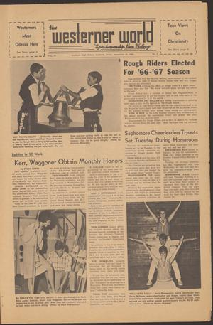 Primary view of object titled 'The Westerner World (Lubbock, Tex.), Vol. 33, No. 2, Ed. 1 Friday, September 16, 1966'.