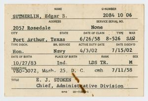 Primary view of object titled '[Edgar B. Sutherlin's Veterans' Administration Card]'.