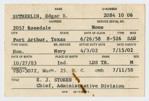 [Edgar B. Sutherlin's Veterans' Administration Card]