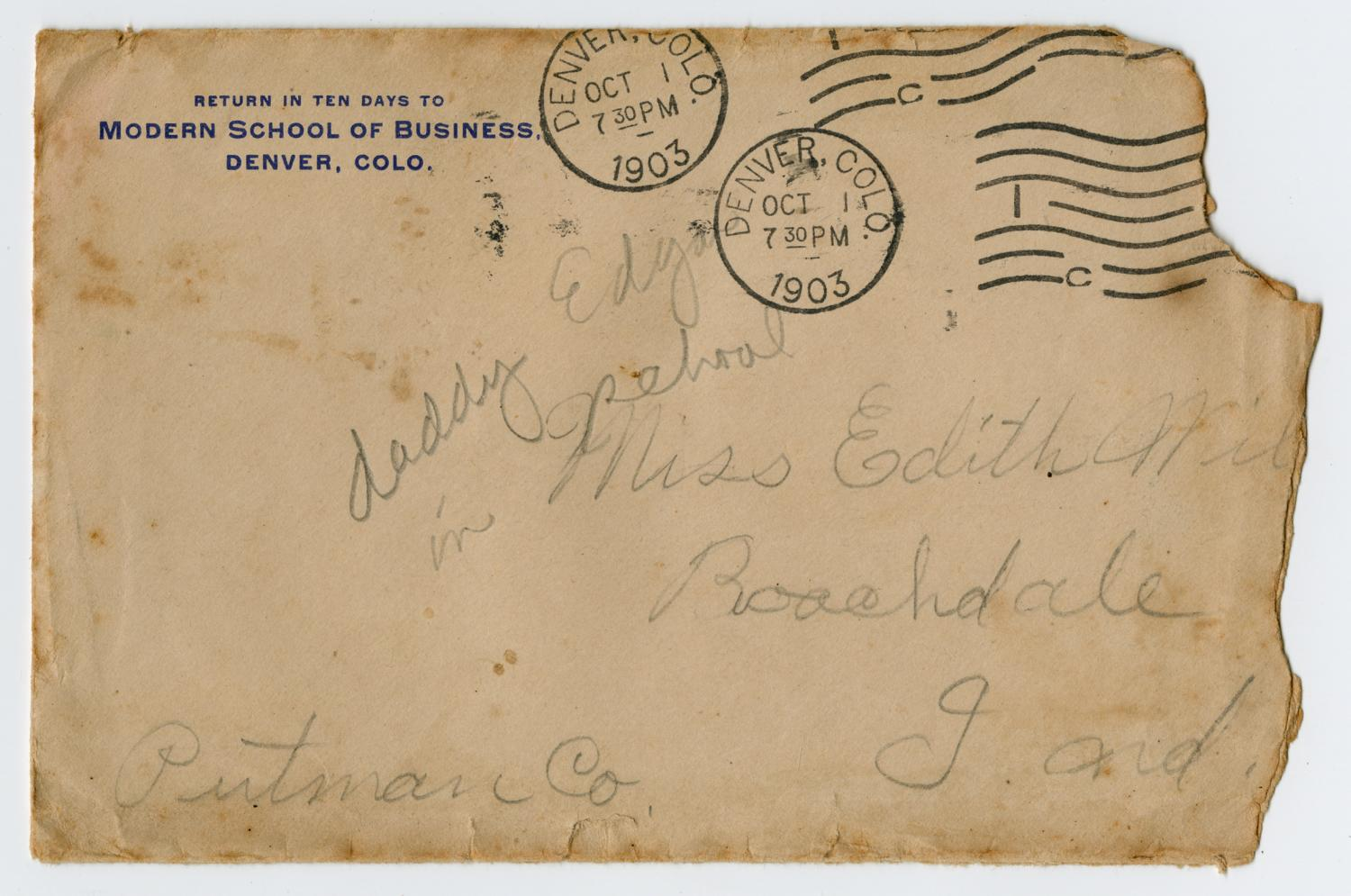 [Letter from Edgar B. Sutherlin to Edith Wilson, 1903]                                                                                                      [Sequence #]: 3 of 4