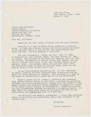 Primary view of object titled '[Letter from Yvonne Sutherlin to Lorna Lutes Sylvester, March 17, 1983]'.