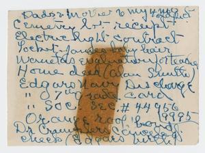 [Handwritten List on Partial Envelope]