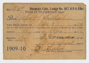 Primary view of object titled '[Elk Lodge Membership Card]'.