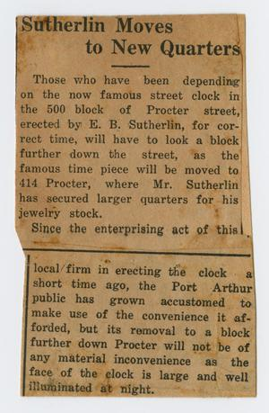 Primary view of object titled '[Clipping: Sutherlin Moves to New Quarters]'.