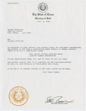 Primary view of object titled '[Letter from the Texas Secretary of State to Yvonne Sutherlin, July 6, 2000]'.