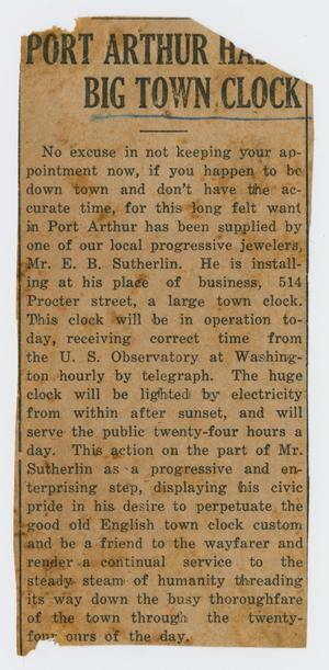 Primary view of object titled '[Clipping: Port Arthur Has Big Town Clock]'.