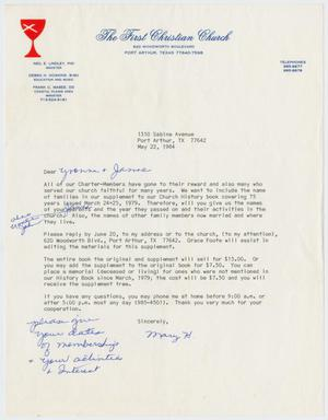 Primary view of object titled '[Letter from Mary H. to Yvonne and James Sutherlin, May 22, 1984]'.