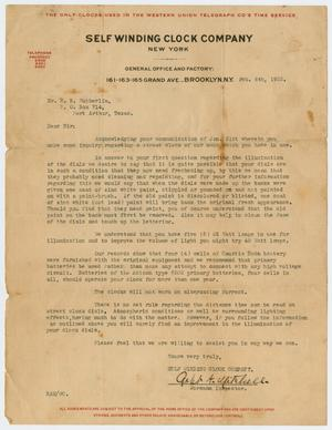 [Letter from Self Winding Clock Company to Edgar B. Sutherlin, February 6, 1922]
