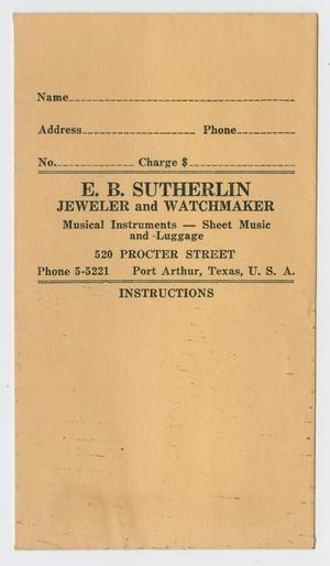 Primary view of object titled '[E. B. Sutherlin Envelope]'.
