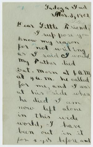 Primary view of object titled '[Letter from Edgar B. Sutherlin to Edith Wilson, March 3, 1902]'.