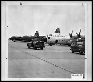 Primary view of object titled '[Three Lockheed C-130 Hercules aircraft]'.