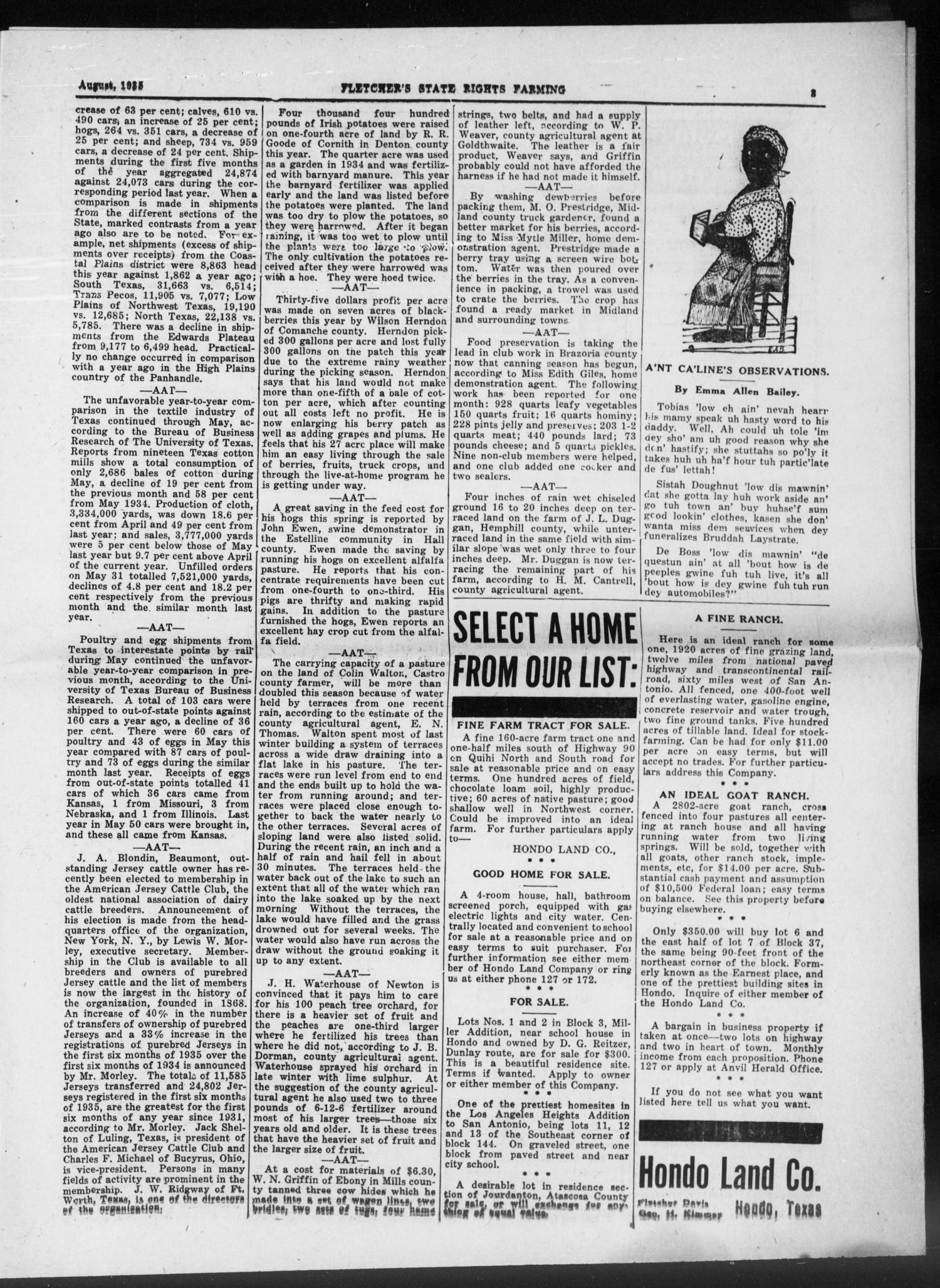 Fletcher's State Rights Farming. (Hondo, Tex.), Vol. 14, No. 1, Ed. 1 Thursday, August 1, 1935                                                                                                      [Sequence #]: 3 of 16