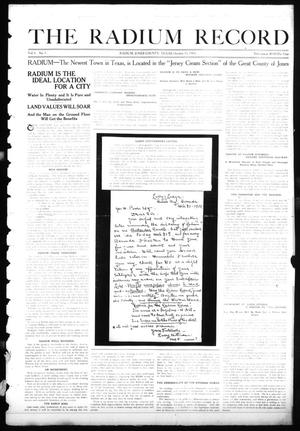 Primary view of object titled 'The Radium Record (Radium, Tex.), Vol. 1, No. 1, Ed. 1 Sunday, October 15, 1911'.