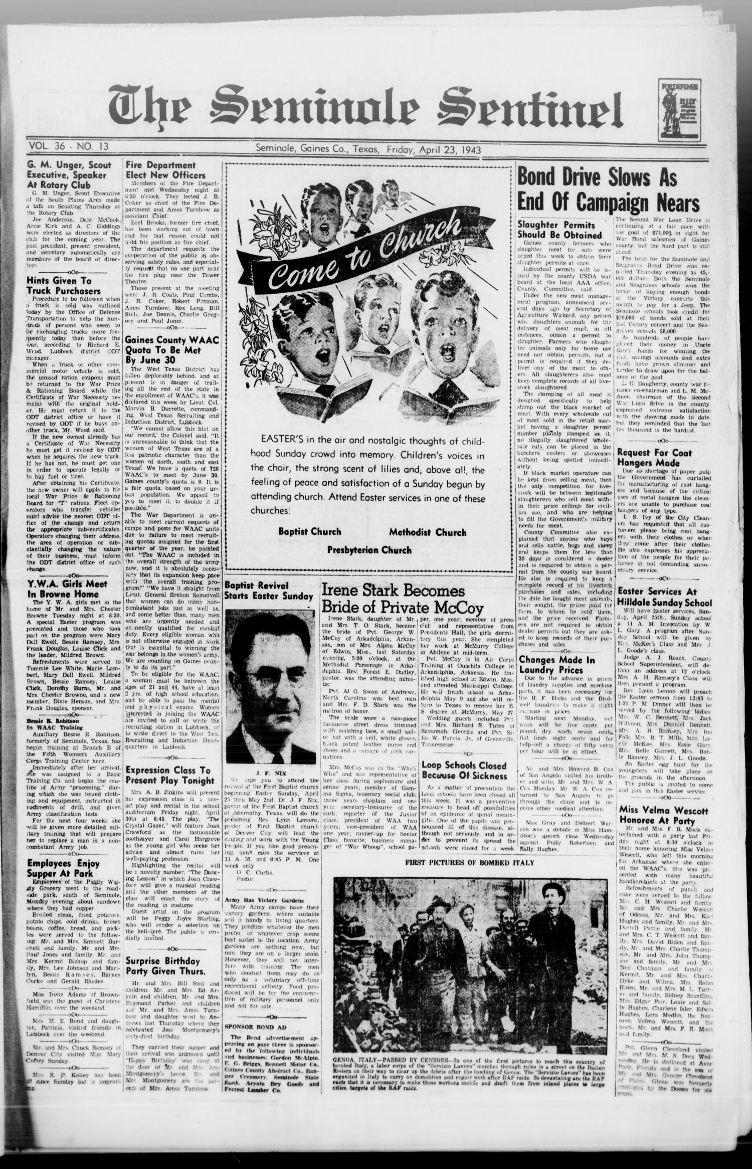 The Seminole Sentinel (Seminole, Tex.), Vol. 36, No. 13, Ed. 1 Friday, April 23, 1943                                                                                                      [Sequence #]: 1 of 4
