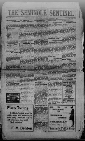 Primary view of object titled 'The Seminole Sentinel (Seminole, Tex.), Vol. 14, No. 34, Ed. 1 Thursday, November 4, 1920'.