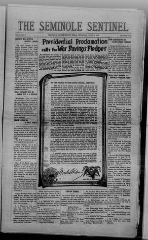 Primary view of object titled 'The Seminole Sentinel (Seminole, Tex.), Vol. 12, No. 21, Ed. 1 Thursday, June 20, 1918'.