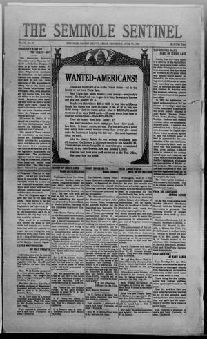 Primary view of object titled 'The Seminole Sentinel (Seminole, Tex.), Vol. 12, No. 22, Ed. 1 Thursday, June 27, 1918'.