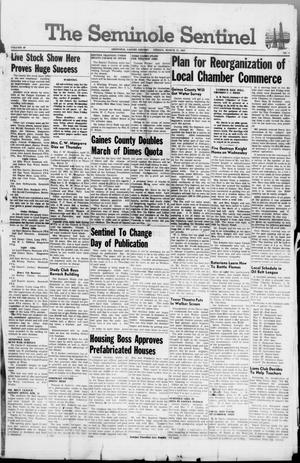Primary view of object titled 'The Seminole Sentinel (Seminole, Tex.), Vol. 40, No. 4, Ed. 1 Friday, March 21, 1947'.