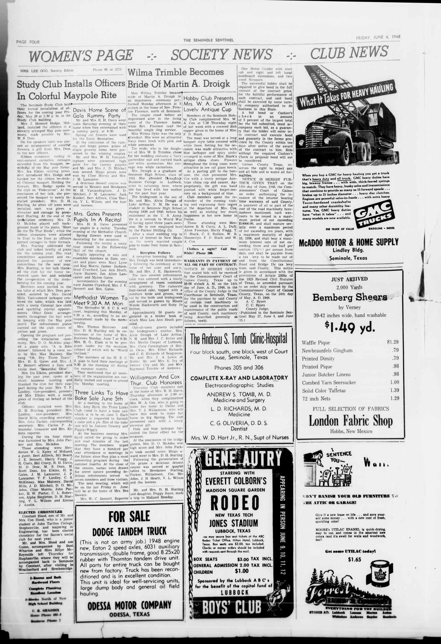 The Seminole Sentinel (Seminole, Tex ), Vol  41, No  13, Ed