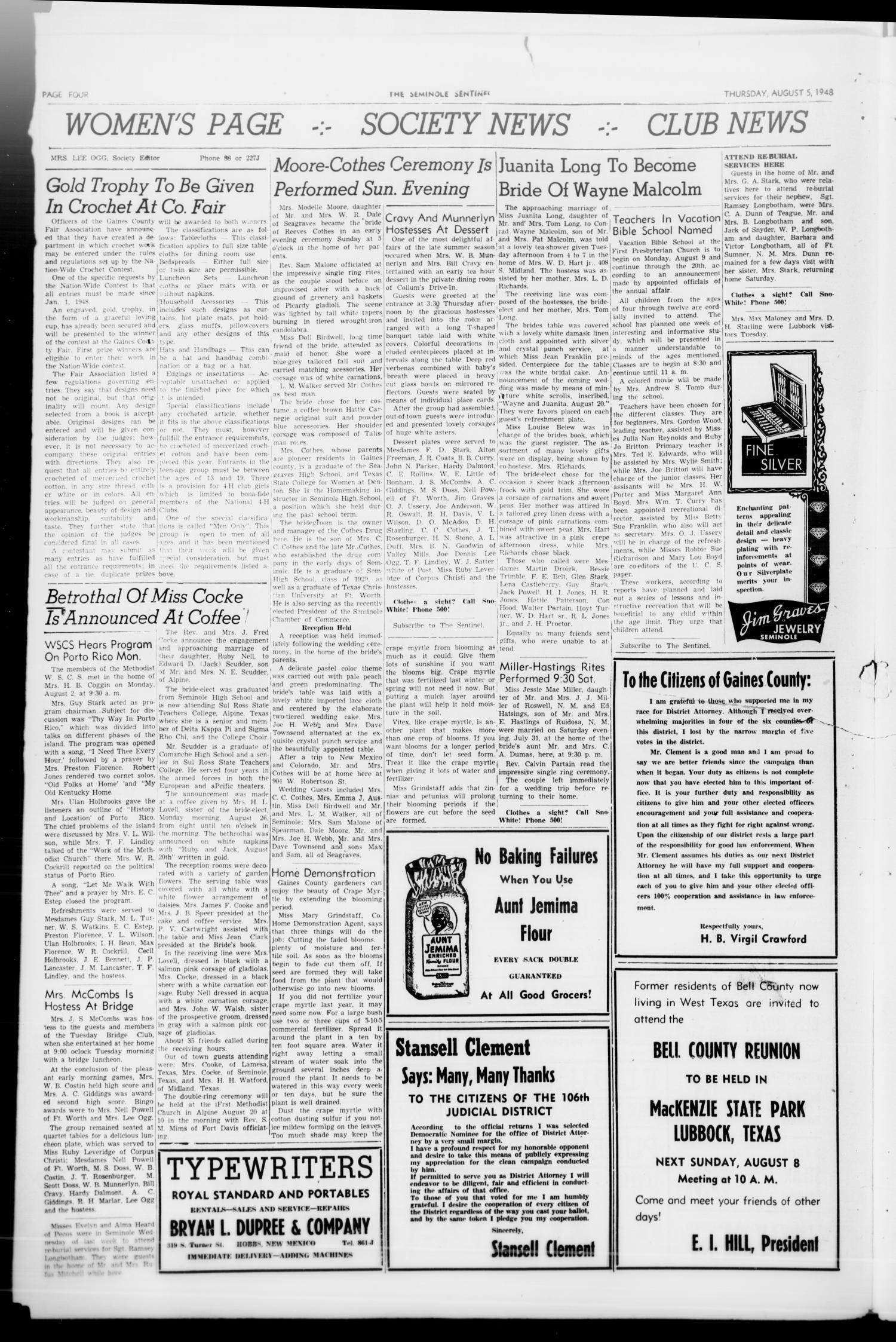 The Seminole Sentinel (Seminole, Tex ), Vol  41, No  26, Ed