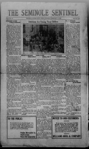Primary view of object titled 'The Seminole Sentinel (Seminole, Tex.), Vol. 12, No. 52, Ed. 1 Thursday, February 13, 1919'.