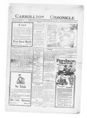Primary view of object titled 'Carrollton Chronicle (Carrollton, Tex.), Vol. 17, No. 41, Ed. 1 Friday, August 19, 1921'.